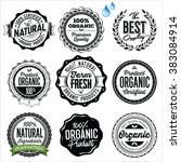 organic food badges  labels and ... | Shutterstock .eps vector #383084914