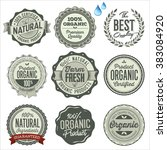 organic food badges  labels and ... | Shutterstock .eps vector #383084920