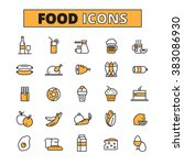 food and drink line icons set    Shutterstock . vector #383086930
