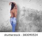 young african girl with naked... | Shutterstock . vector #383090524
