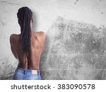 young african girl with naked... | Shutterstock . vector #383090578