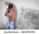 young african girl with naked... | Shutterstock . vector #383090590