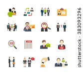 recruitment icons set | Shutterstock . vector #383093296