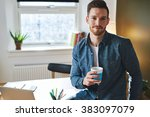 confident young entrepreneur... | Shutterstock . vector #383097079