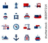 seaport flat icons set  | Shutterstock . vector #383097214