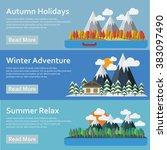 seasons of the year. mountains... | Shutterstock . vector #383097490