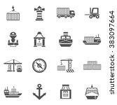 seaport black icons set | Shutterstock . vector #383097664