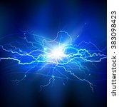 blue lightning background  | Shutterstock . vector #383098423