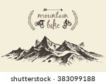 bicyclists riding in mountains  ... | Shutterstock .eps vector #383099188