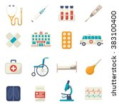 medical icons flat set | Shutterstock . vector #383100400