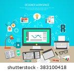 designer workspace concept | Shutterstock . vector #383100418