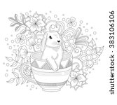 rabbit in the cup illustration   Shutterstock .eps vector #383106106
