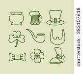 patricks day icons set linear...