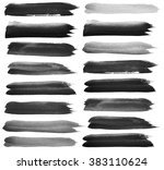 set of black watercolor brush... | Shutterstock . vector #383110624