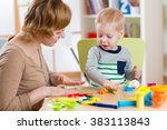 kid boy and mother play... | Shutterstock . vector #383113843