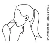 woman drinking a glass of water ...   Shutterstock .eps vector #383114413
