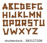 old grunge wooden alphabet set   Shutterstock .eps vector #383127208