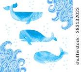 Watercolor Whales Set....