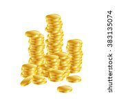 gold coins. columns of gold... | Shutterstock .eps vector #383135074