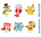 set of cute owls isolated on... | Shutterstock .eps vector #383143258