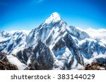 mountain peak. everest.... | Shutterstock . vector #383144029