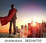 superhero businessman looking... | Shutterstock . vector #383146720