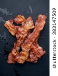 grilled bacon with rosemary on... | Shutterstock . vector #383147509