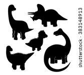 set of black dinosaur... | Shutterstock .eps vector #383148913