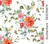 Stock photo watercolor painting illustration of rose seamless pattern on white background 383150674