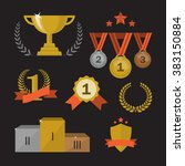 trophy and awards icons set....   Shutterstock . vector #383150884