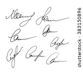 set of signatures isolated on a ... | Shutterstock . vector #383150896