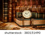 vintage antique pocket watch on ... | Shutterstock . vector #383151490