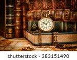 vintage antique pocket watch on ... | Shutterstock . vector #383151490