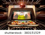 baking gingerbread man in the... | Shutterstock . vector #383151529