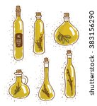 olive oil bottles on white | Shutterstock .eps vector #383156290