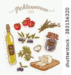mediterranean style food | Shutterstock .eps vector #383156320