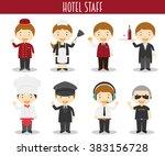 vector set of hotel staff... | Shutterstock .eps vector #383156728