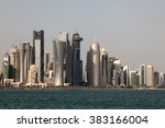 Stock photo skyline of the doha downtown al dafna qatar middle east 383166004