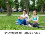 young couple meditating on... | Shutterstock . vector #383167318