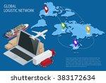 global logistics network flat... | Shutterstock .eps vector #383172634