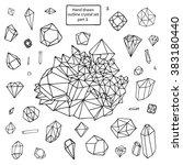 crystal diamond outline set | Shutterstock .eps vector #383180440