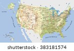 highly detailed map of united... | Shutterstock .eps vector #383181574