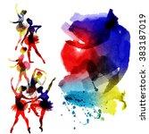 ballerina dancing. watercolor.... | Shutterstock .eps vector #383187019