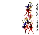 ballerina dancing. watercolor....   Shutterstock .eps vector #383187034