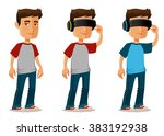 cartoon guy using virtual... | Shutterstock .eps vector #383192938