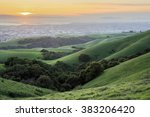 sunset over san francisco bay... | Shutterstock . vector #383206420