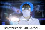 female doctor with futuristic... | Shutterstock . vector #383209210