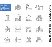 Building icons, set 1 of 2. | Shutterstock vector #383210098