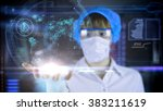 doctor with futuristic hud... | Shutterstock . vector #383211619