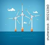 horizontal axis wind turbines... | Shutterstock .eps vector #383212360